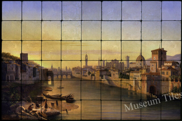36x24 Florence, A View of the River Arno Mural Tumbled Marble Tiles