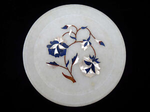 Marble-Inlay-Serving-Dish-6-034-15-3cm-Plate-Gemstone-Mother-Pearl-Lapis-Inlaid