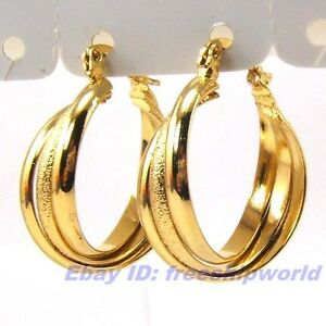 0.98 REAL TWIST 3 RING 18K YELLOW GOLD GP HOOP EARRING SOLID FILL GEP DANGLER