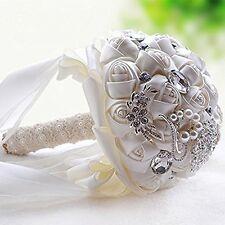 White Crystal Wedding Rhinestone Brooch Bride Bouquet Hand Holding Flowers NEW