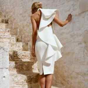 the best attitude 39f44 031b2 Dettagli su Vestito schiena scoperta ondulata elegante donna corto bianco  tubino spalle sexy