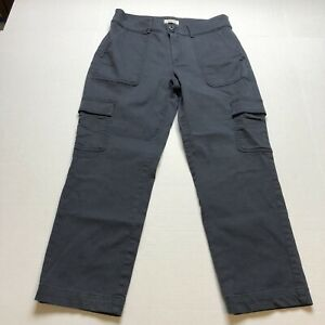Loft-Straight-Crop-Cargo-Pocket-Gray-Pants-Size-6-A935