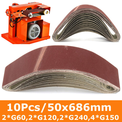 50x686mm Sanding Belts Mixed 60//120//150//240 Grit Sander File Long Lasting 10Pcs