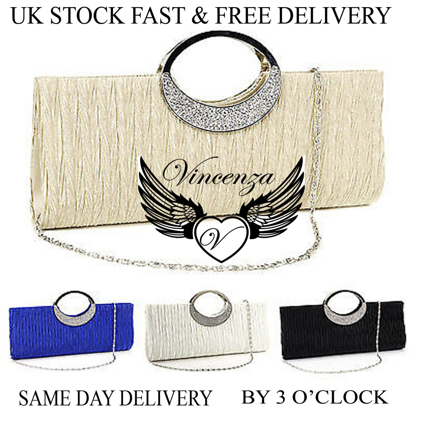 Womens Party Bridal Evening Clutch Handbag Purse Diamante Ladies Shoulder Bags