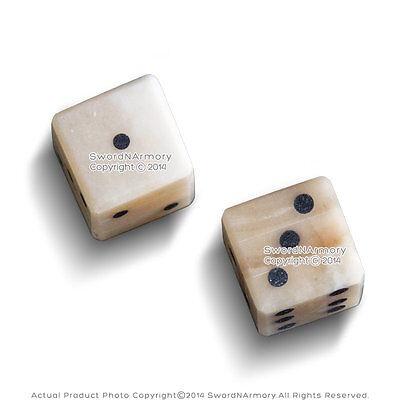 Genuine White Bone Gambling Handmade Roman Dice Inlaid Pips Casino Game Medieval