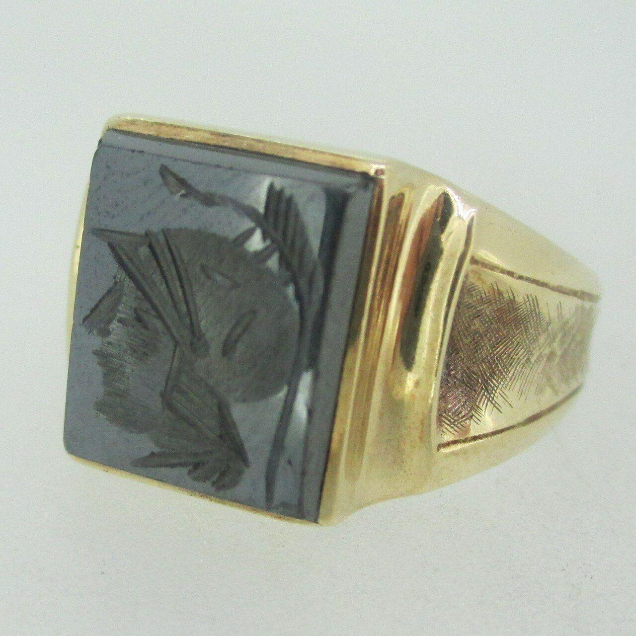 10k Yellow gold Signet Men's Ring Size 12.5