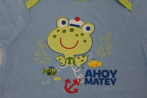 NEW Baby Boys Bodysuit 6-9 Months Frog Creeper Outfit 1 Piece Infant Fish Ahoy