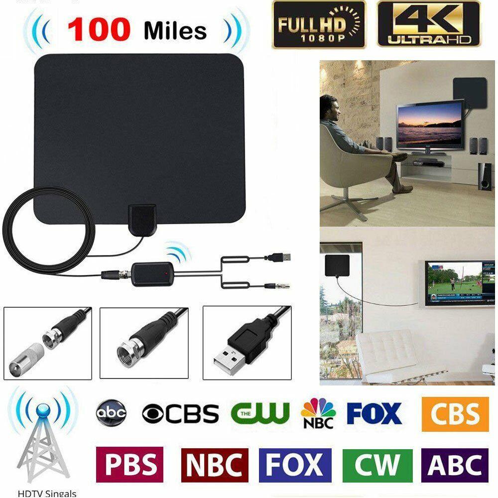 Digital TV Antenna 100 Miles Range Signal Booster Amplifier