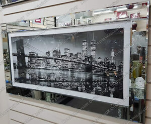 Black-amp-white-New-York-skyline-with-crystals-liquid-art-amp-bevelled-mirror-frame
