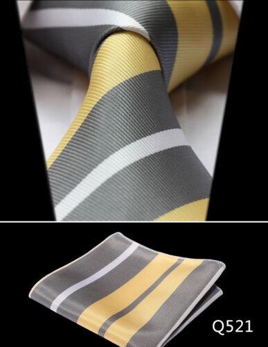 "Check 3.4/"" Silk Fashion Mens Extra Long Tie Necktie Handkerchief Set XL Ties#Q5"