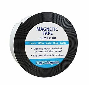 "Adhesive Magnetic Strip - Flexible Magnet Tape- 1"" wide x 10 feet - 30 mil thick"