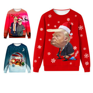 Donald Trump Ugly Christmas Sweater.Details About Adults Xmas Donald Trump Ugly Christmas Cartoon Autumn Winter Sweater Hoodie