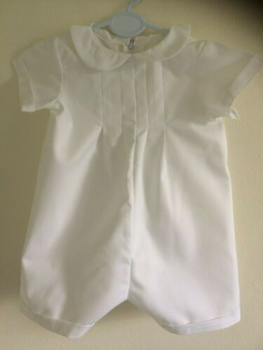 PLAIN WHITE COTTON BABY BOYS ROMPER CHRISTENING BAPTISM CLOTHES PLAIN SOFT