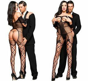 bb11d0626c7 Details about Ladies Sexy Open Cup Bodysuit Tights Catsuit Bodystocking  Lingerie Fishnet BOW