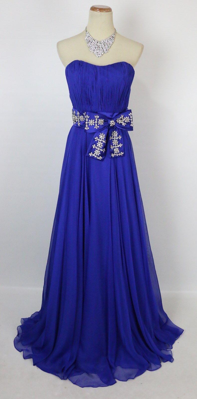 nyA  590 Jovani Ruched Strapless Bodice Prom Formal Evening Dress Storlek 4 Royal