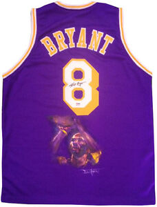 more photos e2f1a 3bf9b Details about Kobe Bryant Signed Hand painted Purple Lakers #8 Jersey  Autograph 1/1 PSA coa