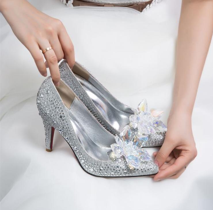 Cinderella Rhinestone Glass Slipper Fit Wedding Dress High Heels Prom shoes 2019