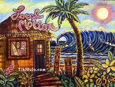 Local Motion Surfing Tiki Hula Hut Hawaiian Island Sunset Kitsch CBjork PRINT