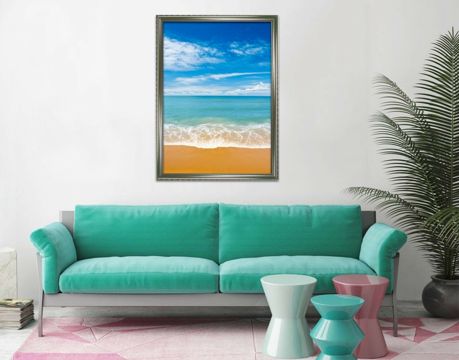3D Blau Sky Beach 675 Fake Framed Poster Home Decor Drucken Painting Unique Kunst