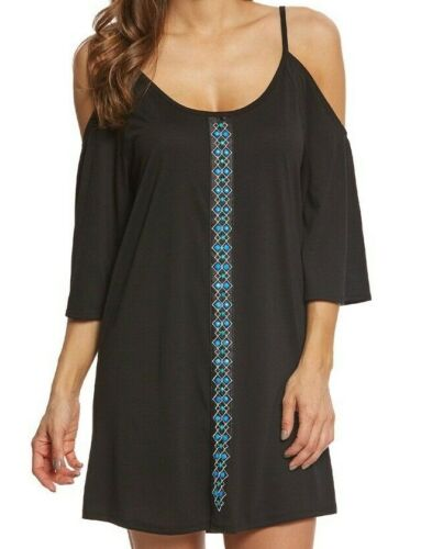 Dotti Women/'s Swimsuit Cover Up Jewel Tones Cold Shoulder Tunic Dress