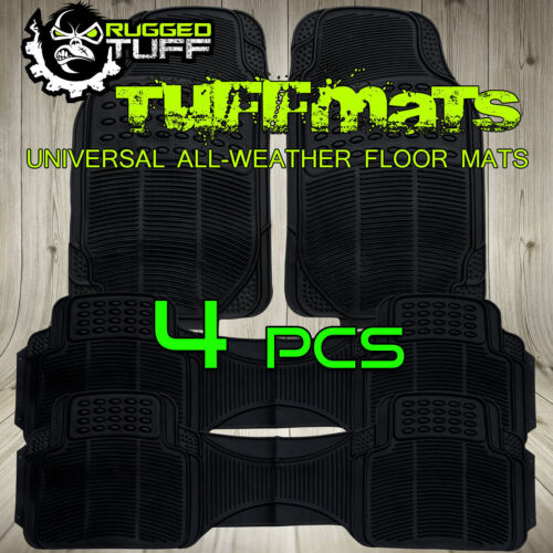 4 PC RUGGED TUFF SUV FLOOR MATS BLACK DURABLE WATER DIRT RESISTANT 3RD ROW NEW