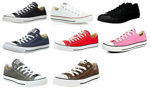 Converse-Low-Tops-OX-Black-White-Red-Navy-Grey-Sneakers-Trainers-Shoes