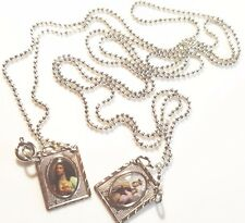 Scapular Medal Our Lady of Mount Carmel and Sacred Heart Jesus 925 Silver Plated