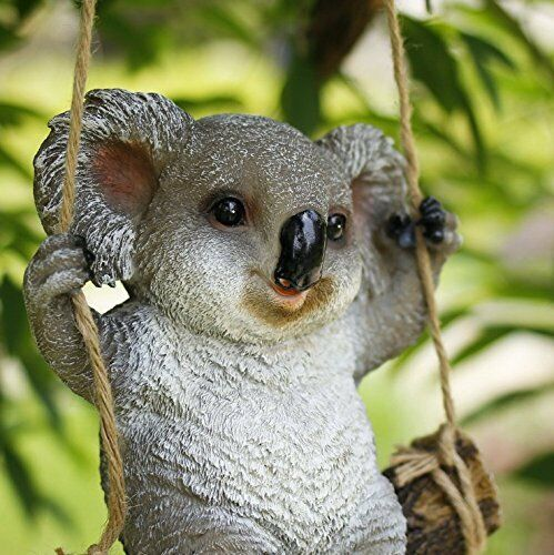 Swing Koala Bear Garden Statue Funny Outdoor Sculpture ornaments Décor