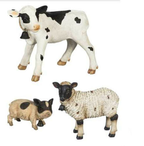 Outdoor Farm Animal Statue Set Cow Lamb Figurines Pig