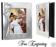 Wedding Photo Album Personalized Hand Engraved Free - Crystal Rhinestone Hearts