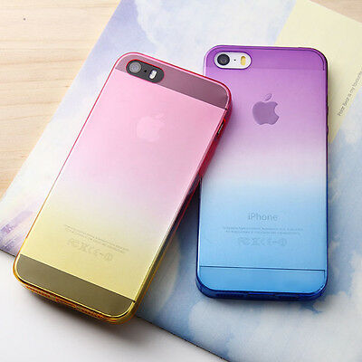 Colorful Ombre Silicone/Gel/Rubber Clear Case Cover Skin For iphone 5s 5