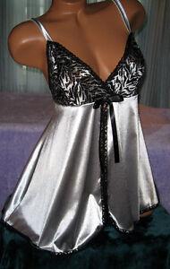 Silver-Black-Stretch-2-Piece-Nightgown-Babydoll-Short-Gown-Thong-1X-Plus