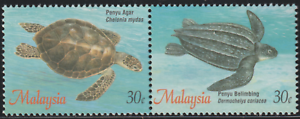 192Be-MALAYSIA-1995-TURTLES-SE-TENANT-PAIR-SET-2V-FROM-BOOKLET-PANE-FRESH-MNH