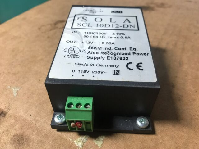 SOLA SCL 10d12-dn Power Supply out or - 12 Volt 0 35 Amps