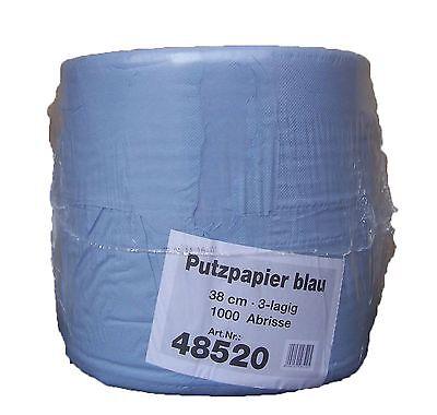 10 x 1000 Bl. Industrieputztuchrolle blau 3 lagig 36 cm breit Putztuchrolle