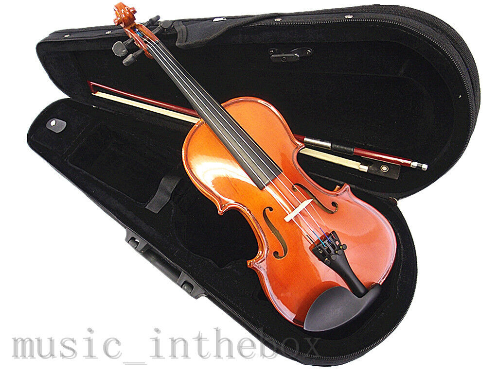 Student Model - 1 8 New Solid Wood Violin +Bow +Rosin +Case +Free Gift