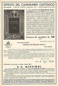 Calendario Cattolico.Dettagli Su W9874 Istituto Del Calendario Cattolico Pubblicita Del 1934 Old Advertising