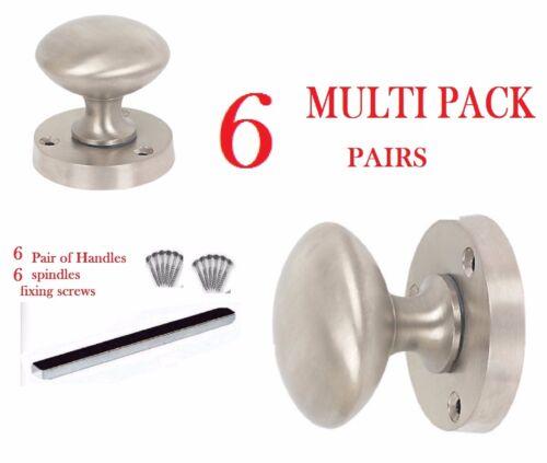 Pack 6 x poignées chrome satiné à mortaise poignées de porte d14 acier brossé