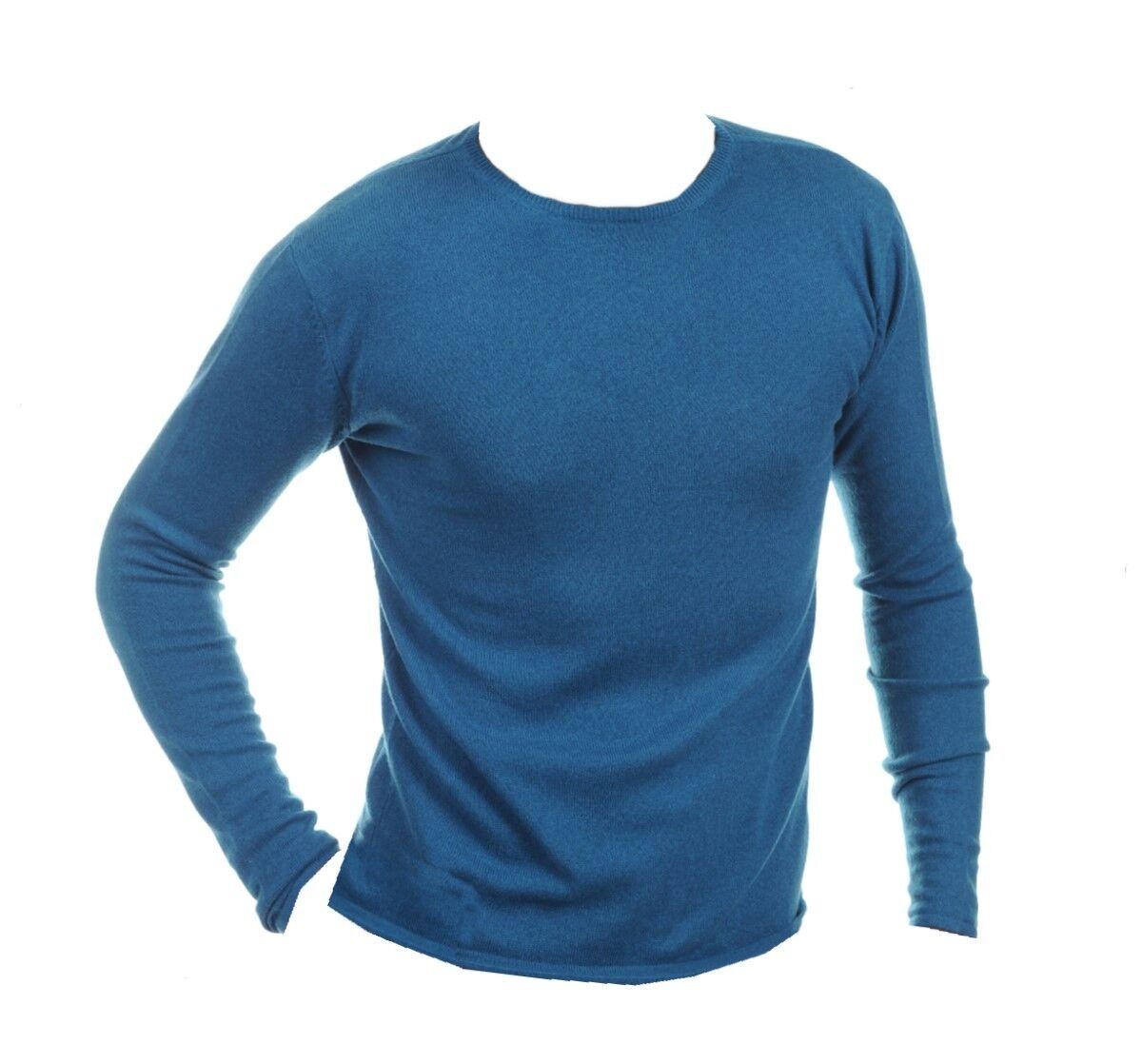Balldiri 100% Cashmere Herren Pullover Rundhals ohne Bund leuchtendesblau XL