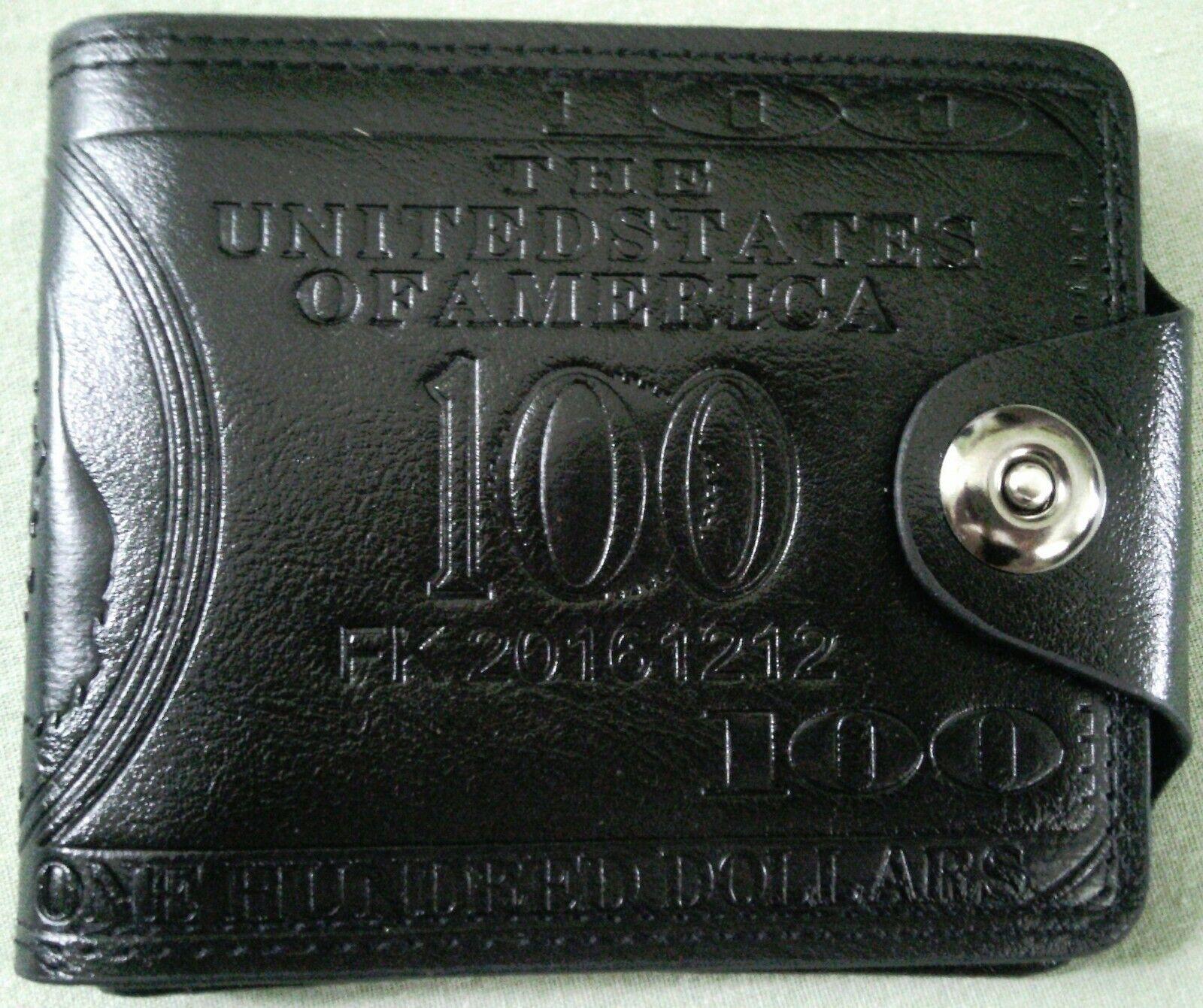 Mens Faux Leather Wallet Money Design Black Billfold Card Holder Snap Shut NWOTs