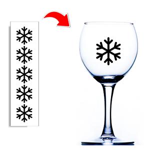 Noël Verre Vin Stickers Flocon de neige Noël Autocollants pour verres et boules