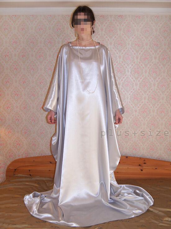 Kaftan Tunika Kimono Haus-Gewand Hauskleid Homedress Silber Satin Gr.S bis XXXXL