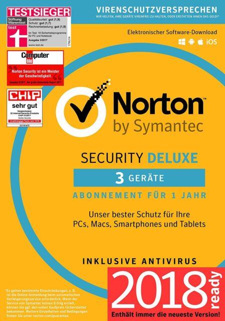 Norton Security Deluxe 3.0 - 2018 - 3 Geräte - 1 Jahr DE (PC/Mac/Tablet/Handy)