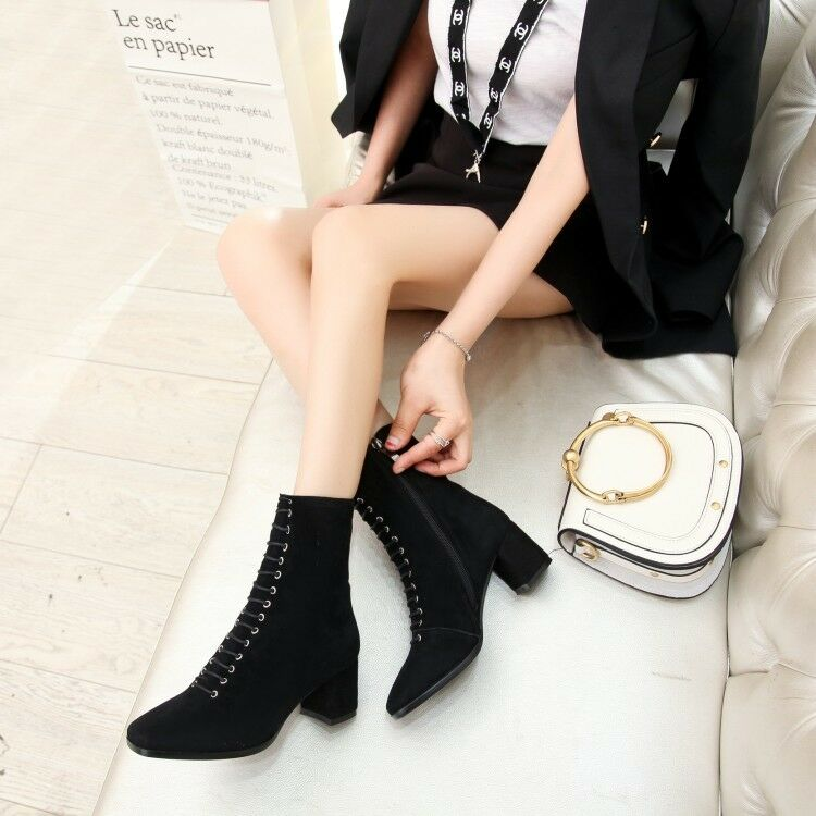 femmes Suede Square Toe Zip Mid Calf Riding bottes Block Mid Heels Fashion chaussures