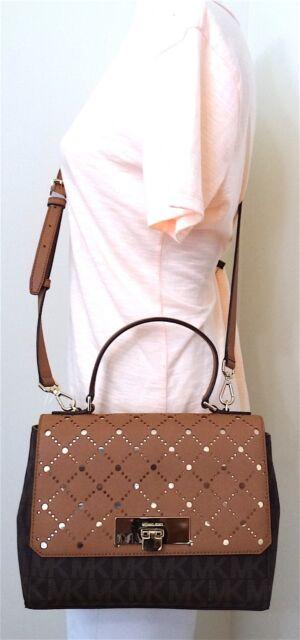 1756dde3c24c Michael Kors Violet Callie Brown/pale Gold MD Satchel Bag 35T7GV1S2B ...