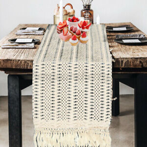 Woven-Macrame-Table-Runner-Home-Party-Decor-Fringe-Cotton-Tablecloth