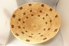 """Native American Design Large Weave Tray Basket Bowl. Approx. 5.6"""" T x 15"""" Diam"""