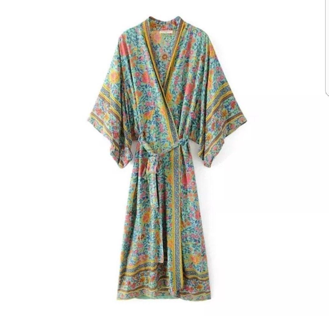 BOHO CHIC fp zu lieben grünen Strand Designer Coverup Kimono Winterjacke 8 10