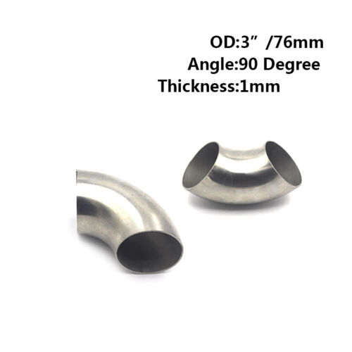 "1PCS 3/"" inch 76mm 201 Stainless Steel 90 Degree Bend Elbow Pipe Thickness:1mm"