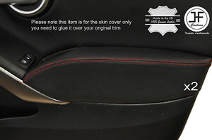 RED-STITCH-2X-FRONT-DOOR-ARMREST-LEATHER-COVER-FITS-FIAT-500X-500-X-14-17